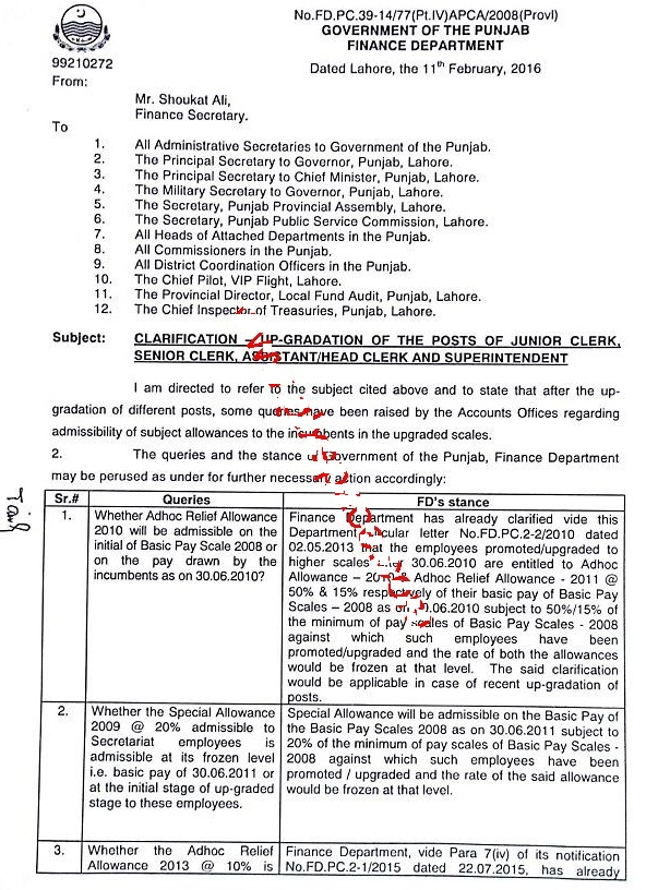 Punjab Finance Department Clarification for Up-gradation of Junior Clerk, Senior Clerk, Assistant, Head Clerk and Superintendent 1