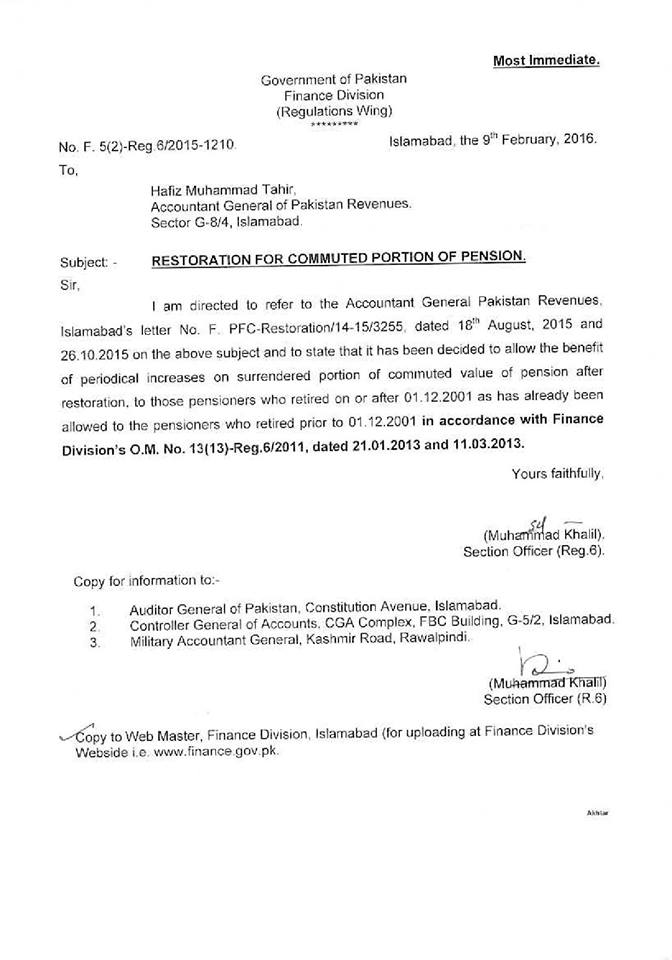Restoration of Commuted Portion of Pension - Finance Division Notification dated 9-2-2016
