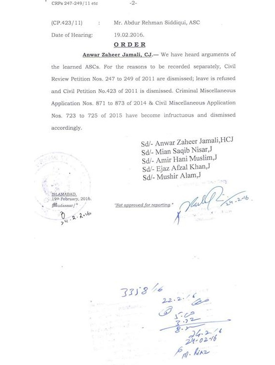 Supreme Court Short orders dated 19-02-2016 b