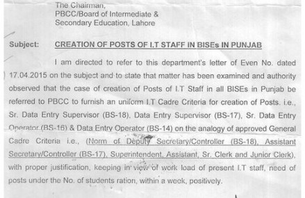 IT Staff Posts Creation in Punjab Education Boards (BISEs)