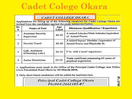 Jobs in Cadet College Okara
