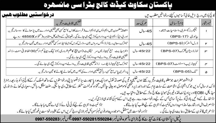 Vacancy in Pakistan Scout Cadet College Butrasi Mansehra