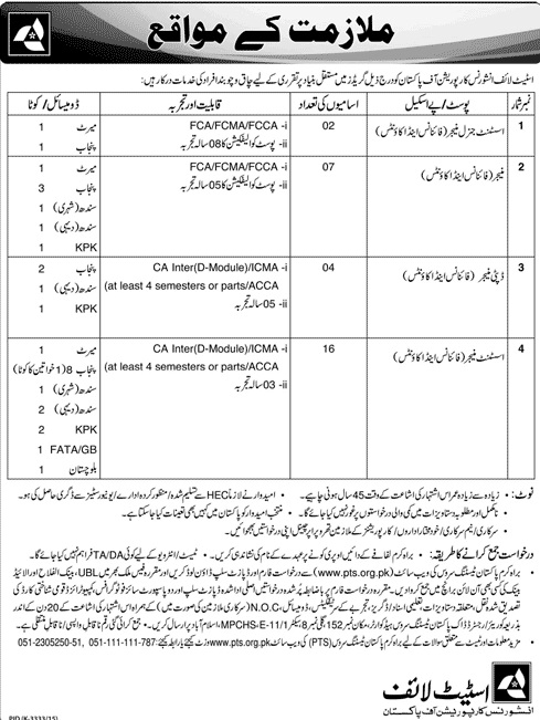 Jobs in State Life Insurance Corporation of Pakistan For Managers