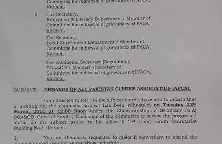 Meeting on Demands of APCA Sindh in Karachi Held On March 22, 2016