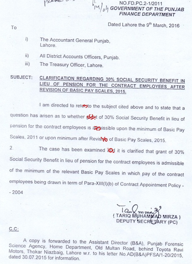 Notification Social Security benefits in Lieu of Pension for Contract Employees of Punjab Government