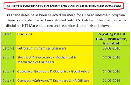 OGDCL Selected List of Candidates for Internship Program 2016