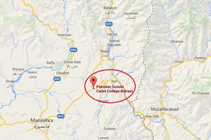 Pakistan Scouts Cadet College Batrasi District Mansehra - Location Map