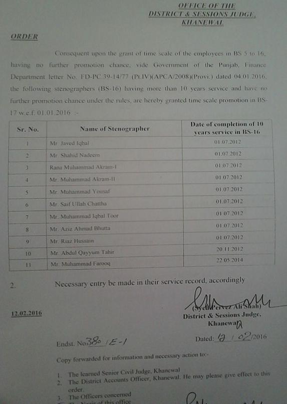 Promotion Notification of District and Session Court Khanewal