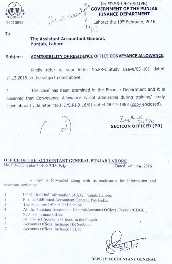 Punjab Finance Division Notification Regarding Conveyance Allowance during Training or Study leave