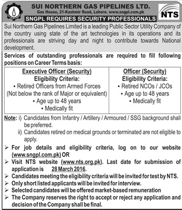 SNGPL Jobs for Security Professionals