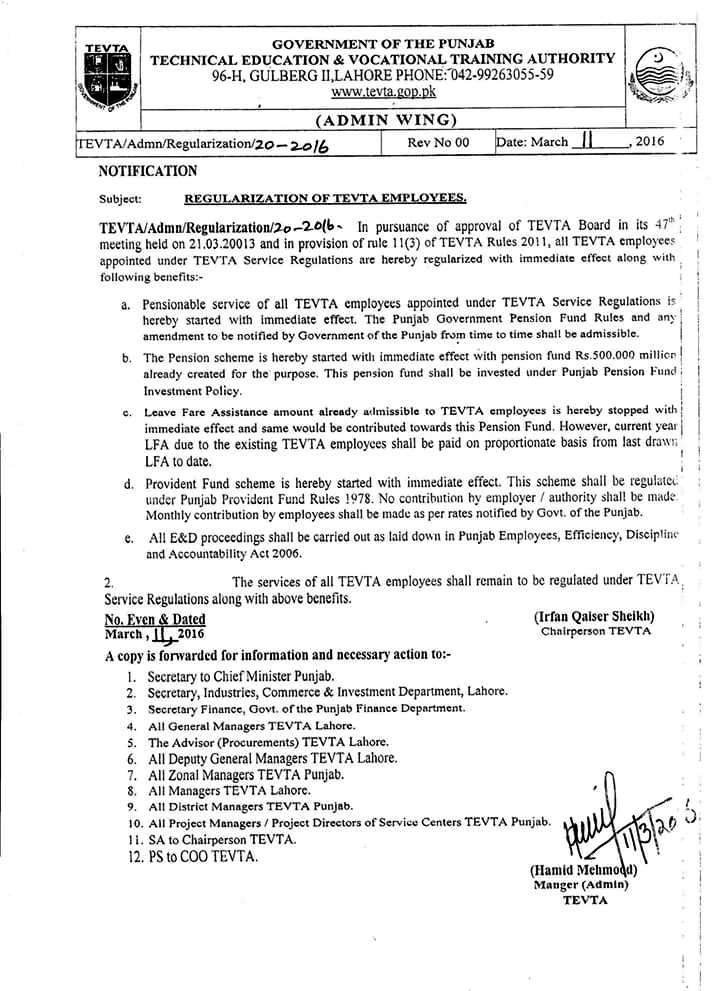 TEVTA Notification of Regularization of TEVTA Contract Employees