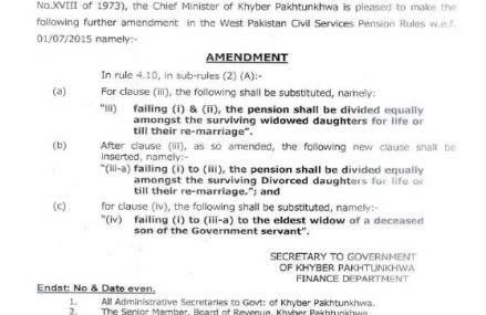 KPK Pension Notification for Widowed Daughters and Eldest Widow dated 21-04-2016