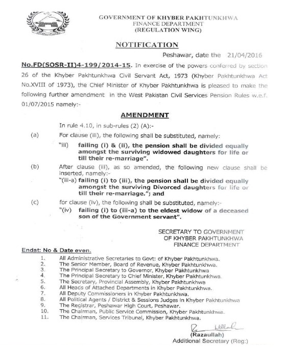 KPK Finance Dept Pension Notification for Widwed Daughters and Eldest Widow dated 21-04-2016