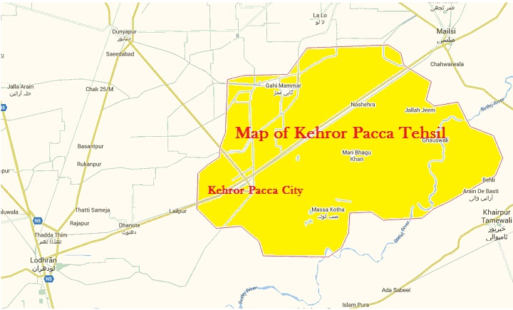 Map of Kehror Pacca Tehsil District Lodhran