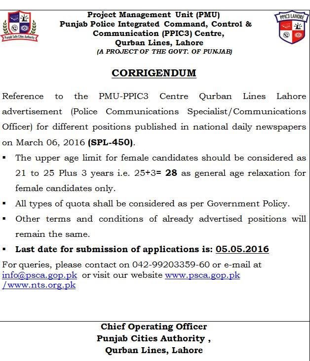 PSCA  Jobs PPIC_Corrigendum