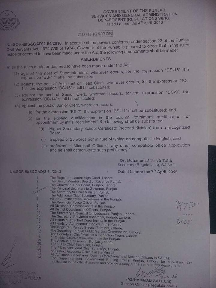 Punjab Govt Notification Regardfing Clerical Upgradation and Junior Clerk Pay Scale and Education