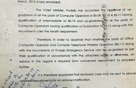 Upgradation of Posts of Computer Operator in Rescue 1122 Punjab – Notification Issued