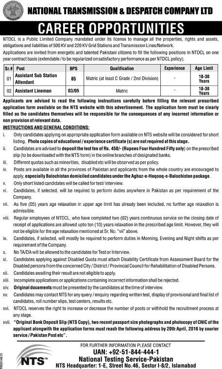 Vacancies in NTDC - ASSA and Assistant Lineman