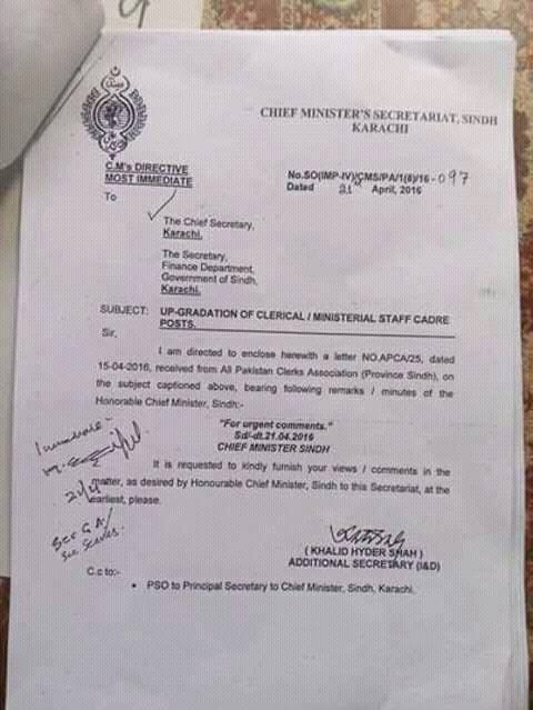 Chief Minister Sindh Seek Views-Comments on Upgradation of Clerical Staff Cadre from Chief Secretary Sindh Dated 21-4-2016