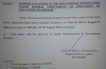 FDE Notification of Summer Vacations in Federal Schools and Colleges