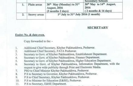 KPK Education Department Summer Vacations Notification 2016