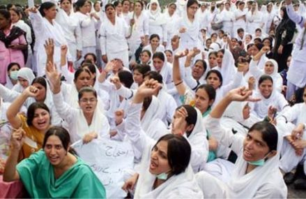 Nurses Protest and Dharna in Multan Kachehry Chowk