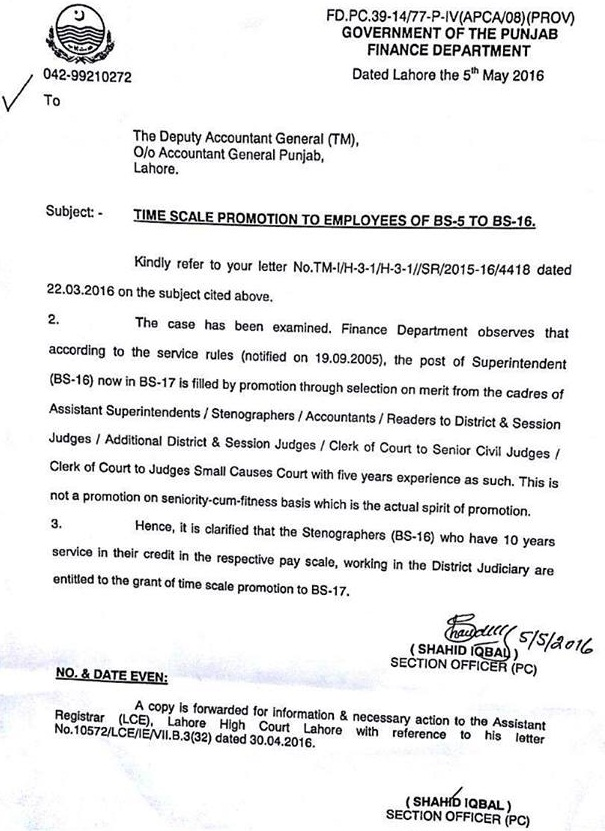 Punjab Finance Department Clarification of Time Scale Promotion