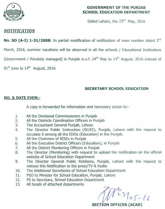 Punjab Govt Schools Summer Vacations Notification 2016 Dated 23-5-2016