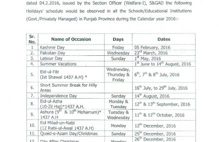 Punjab School Education Department Annual Holidays Schedule Including Summer Vacation Notification 2016
