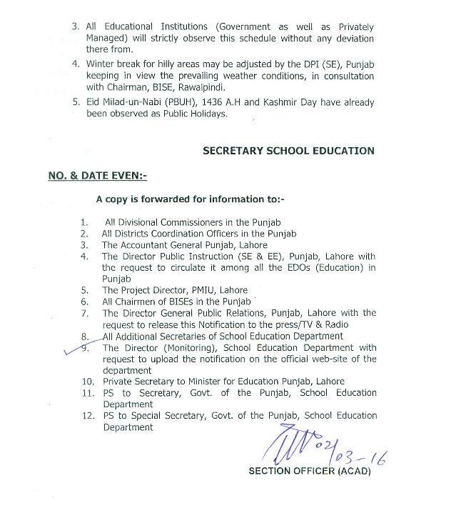 Punjab School Education Department Annual Holidays Schedule Including Summer Vacation notification 2016 (page no 2)