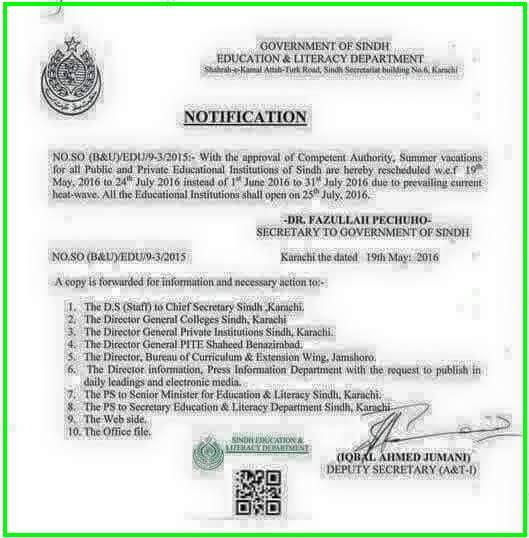 Sindh Education and Literacy Department Notification of Summer Vacation 2016