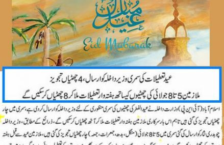 Eid ul Fitr, Govt Employees will enjoy 4 Holidays – Summary Sent for Approval
