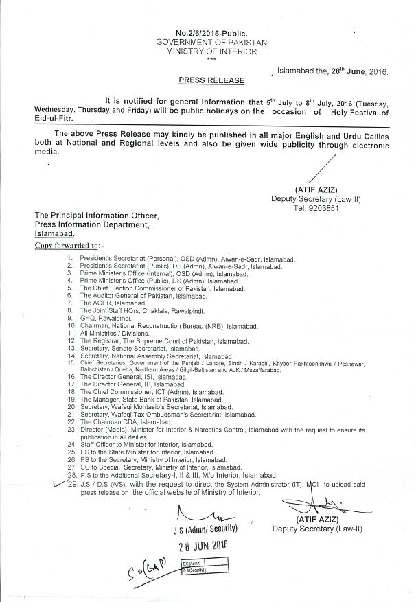 Notification of Eid ul Fitr Holidays 2016 - Interior Ministry issued