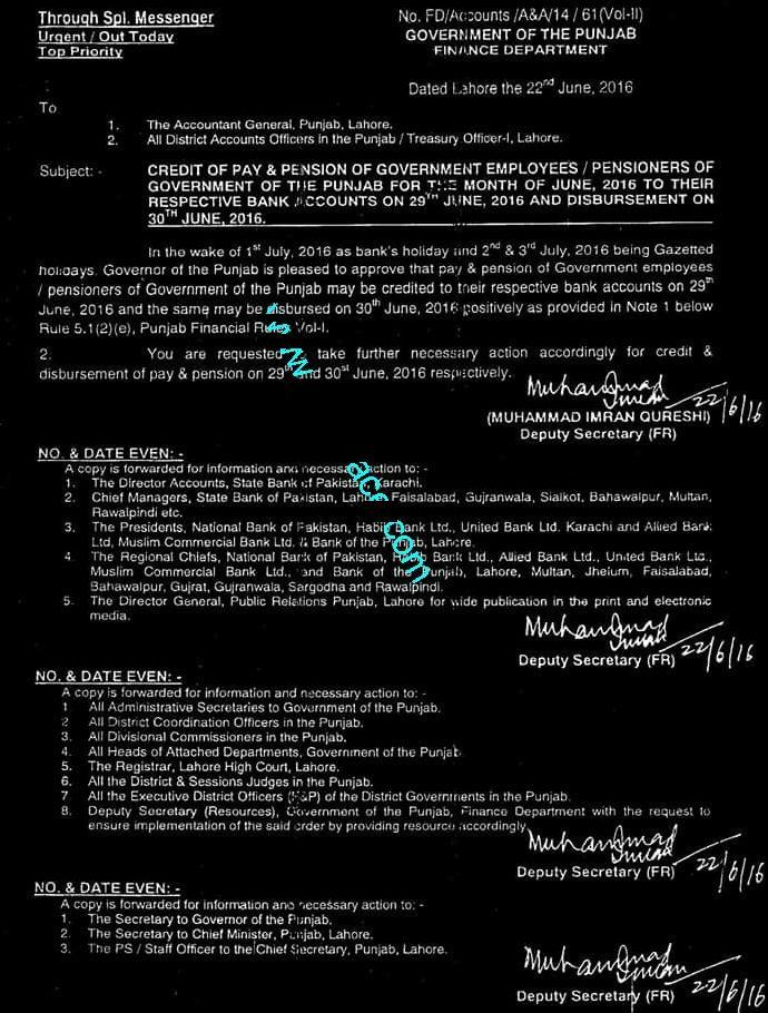 Punjab Govt advance Pays and Pensions Notification on Eid 2016
