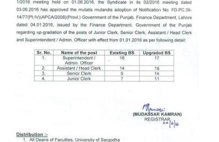 Sargodha University Clerical Staff Upgraded – Notification Issued