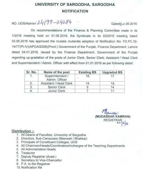 Sargodha University Clerical Staff Upgraded - Notification Issued on 20-6-2016