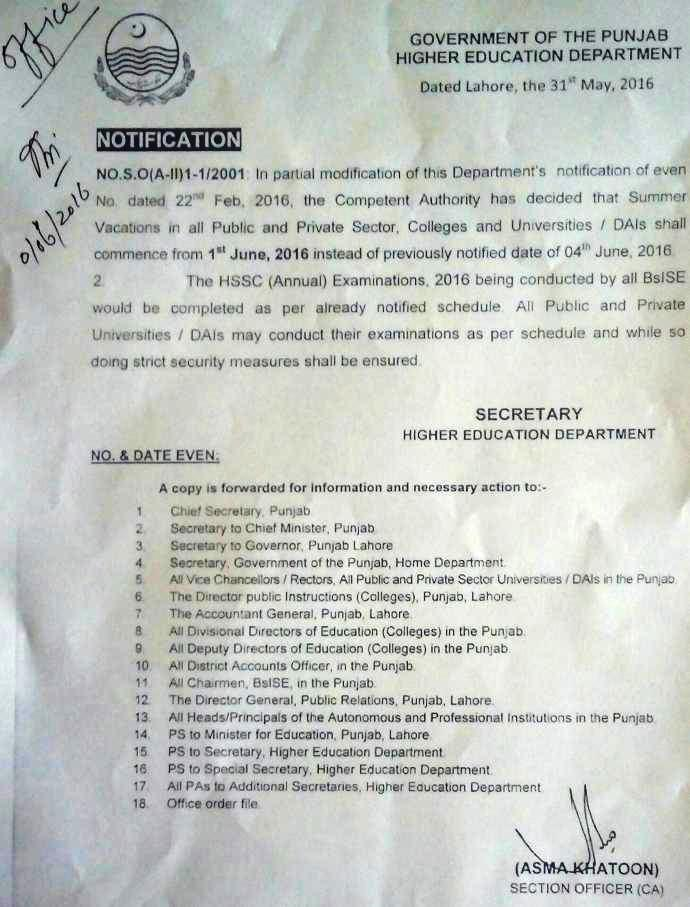 Summer Vacations Notification 2016 - Punjab Higher Education Department