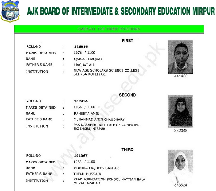 AJK Mirpur Board Matric Result 2016 - Over All Top 3 Positions