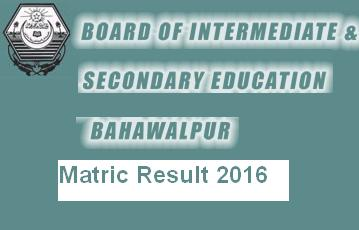 BISE Bahawalpur Matric-SSC Result 2016