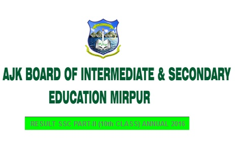 BISE Mirpur Azad Kashmir Matric SSC Part-2 Result 2016