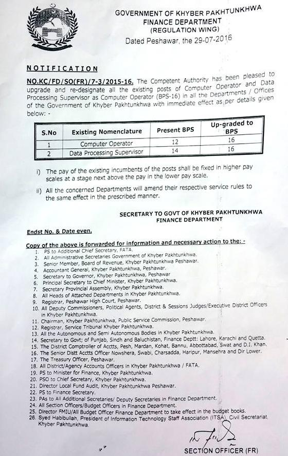 Computer Operators Posts Upgraded in KPK - Notification Dated 29-7-2016