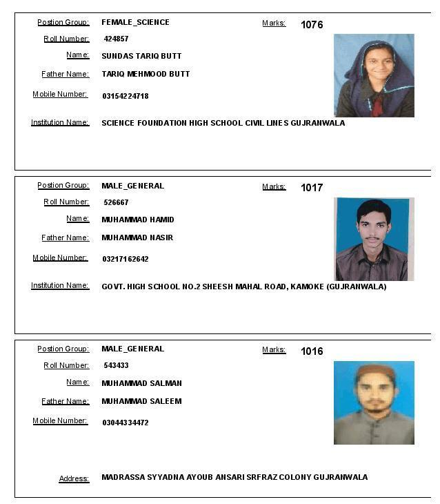 Gujranwala Board Matric Topper Position Holders 2016 - Female Science and Male General Group