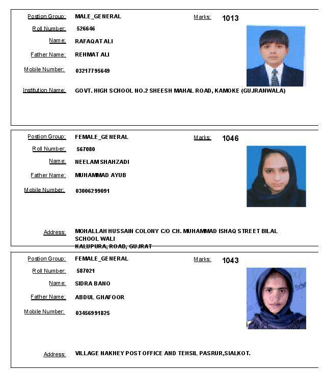 Gujranwala Board Matric Topper Position Holders 2016 - Female general and Male General Group