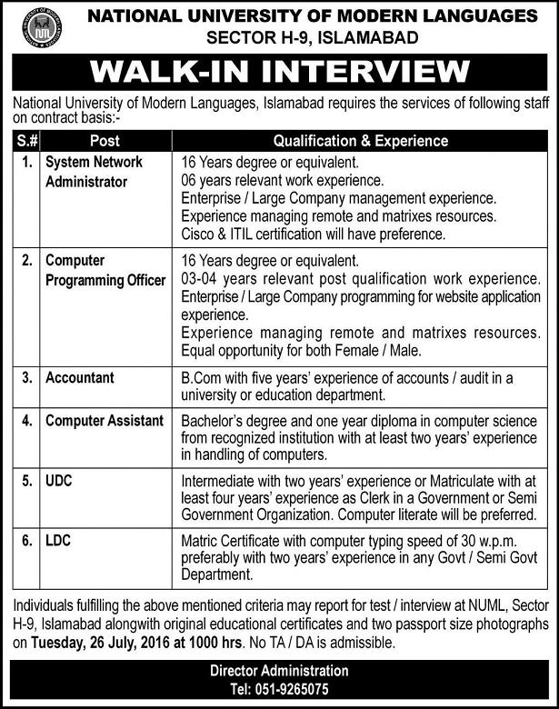 Jobs in NUML University Islamabad