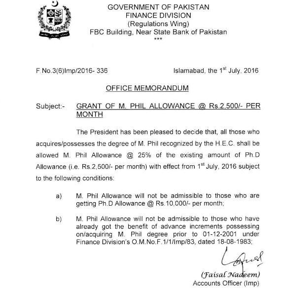 M.Phil Allowance Notification 2016 - Finance Division GoP