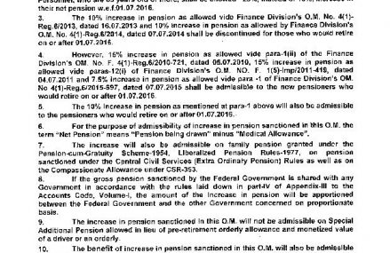 Notification Increase in Pension 2016