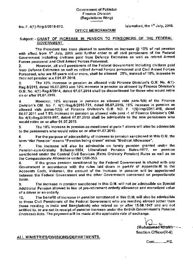 Notification Grant of Increase Pension 2016 a