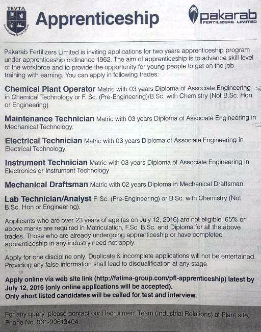 Pakarab Apprenticeship 2016 - Apply Online through Website