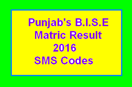 Matric Result Through SMS – Detail of Boards Codes