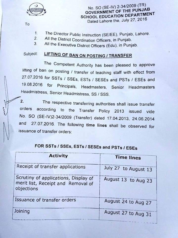 Punjab School Education Dept - Notification Lifting of ban on Posting Transfers 2016